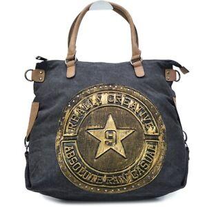 Damen Canvas Stern Shopper Schulter Beutel Tasche Schulterriemen Tote Bag Star