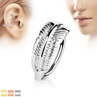 Feather Crawler Ear Cartilage Earrings Daith Tragus Helix Hoop Nose Rings