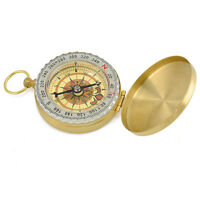 Outdoor Camping Hiking Brass Pocket Watch Style Navigation Compass Ring Keychain