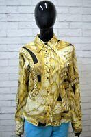 Camicia JUST CAVALLI Blusa Donna Size S Woman Manica Lunga Elastica Hemd Gialla