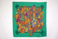 GUCCI 85cm Large Scarf 100% Silk Tassel pattern Logo Stall Shawl Green 3885k