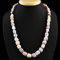 HAND MADE 374.50 CTS EARTH MINED UNTREATED PINK AUSTRALIAN OPAL BEADS NECKLACE