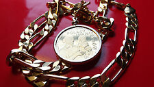 """WWII Holocaust Mother & Child Polish Memorial Coin w 24"""" Gold Filled Chain"""