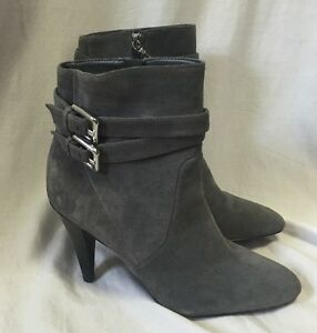 Calvin Klein Cambria Heels Ankle Boots Women's 10M Gray Suede Leather Belt Strap