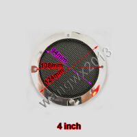 """2pcs 4"""" inch Car Speaker Cover Decorative Circle Metal Grille Mesh Chrome Plated"""