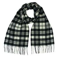 Fred Perry Mod Scott Black & Snow White Tartan Scarf