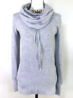 Eddie Bauer Size S Cowl Neck Sweater Tunic Gray Cotton Blend Knit Drawstring