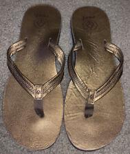 Reef Metallic Gold Flip Flops Womens 9 Slip On Shoes