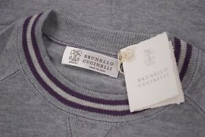 Brunello Cucinelli NWT Crew Neck Sweater Size 54 XL In Gray With Purple & White