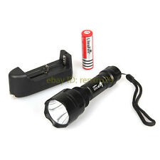 New UltraFire CREE XML-T6 1000 LM C8 LED Flashlight Torch+18650 Battery&Charger