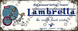 Vintage Retro Lambretta Club LI SX LD TV Metal Sign Size 28 x 11cm