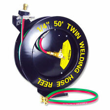 "Retractable Torch Welding Hose Reel 50ft 1/4"" Auto Rewind Oxy acetylene mig Twin"