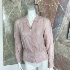 Agnes B Paris Pink Linen Buttondown Agnes B. Button Down Floral Blouse Top SZ 1