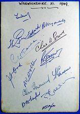 WARWICKSHIRE 1949 – ORIGINAL CRICKET AUTOGRAPHED ALBUM PAGE
