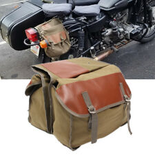 Olive Green Motorcycle Saddle Bag Travel Tool Storage Canvas Pouch Box Universal
