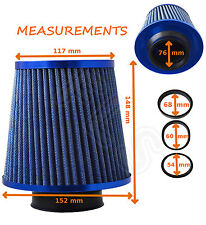 BLUE K&N TYPE UNIVERSAL FREE FLOW PERFORMANCE AIR FILTER & ADAPTERS - Renault 1