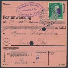 SBZ 42 Pfennig Schwärzung EF Postanweisung Einsiedel 1945 nach Chemnitz (S18063)