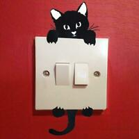 Removable Cat Butterfly Light Switch Art Vinyl Wall Stickers H8Z9 Mural Hom O0Z8