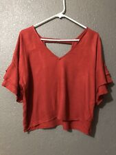 Forever 21 Contemporary  Size M Rust Color  Sleeve Flowing Blouse Open Back