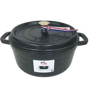 Staub 4 Qt. Enameled Cast Iron Round Cocotte Black Matte New In Box MSRP $409