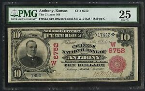 FR613 $10 1902 RED SEAL THE CITIZENS NAT'L BANK OF ANTHONY, KS PMG 25 VF WLM3667