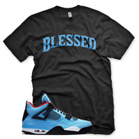 Black BW BLESSED T Shirt for Jordan 4 IV Cactus Jack University Blue UNC