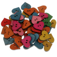 50pcs Heart Shape Wooden 2 Holes Crafts Buttons for Sewing Scrapbooking 19mm