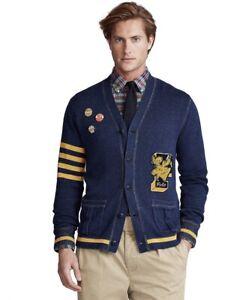 NWT $248 Polo Ralph Lauren Mens XXL 2XL Varsity Letterman Patch Cardigan Sweater