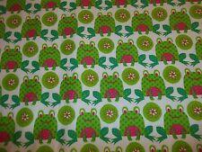 Handmade   Flannel crib sheet white w/ Bright Green Frogs, Raspberry/Neutral