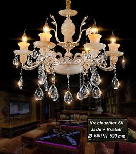 89537-6 Kronleuchter Deckenlampe Kristall Jade Metall Fassung E14 Luxuriös Neu