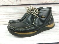 Mens Vintage Lacoste Black Leather Chukka Ankle Boots Size UK 8