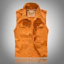 Men Sleeveless Cowboy Vest Punk Hole Denim Waistcoats Jean Jacket Slim Tops