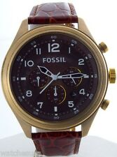 Fossil Dress DE5002 Leather Band Brown Dial with Vintaged Bronze Watch