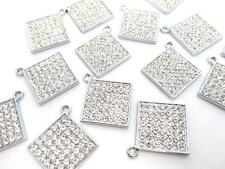 10 Square Crystal Rhinestone Silver Plated Charm/Bracelet/Beading/Jewel K149
