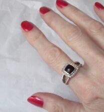 DAVID YURMAN Petite Albion 7mm Black Onyx & Pavé Diamond Cable Ring UK M½ US 6.5