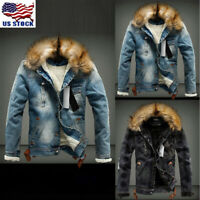 Men's Retro Ripped Jacket with Fur Denim Collar Fleece Jeans Outerwear Coat US