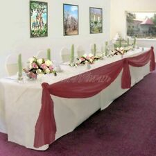 BURGUNDY ELEGANT WEDDING TABLE &CHAIR DECORATION VALANCE SHEER SWAG FABRIC PARTY
