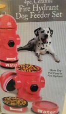 New listing New - Bright Hydrant Dog Feeding Station & Storage 4 Pc Ceramic Dog Bowls