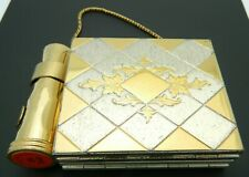 HELENA RUBINSTEIN Gold Tone Makeup Compact Mirror Lipstick Carrying Case