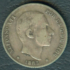 1883 Spanish Philippine ALFONSO XII 20 Centimos De Peso Silver Coin #3