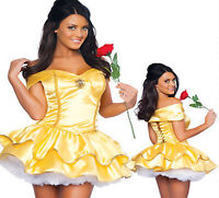 Sexy Princess Belle Ladies Fancy Dress Beauty Costume Fairy Tale Party Fashion