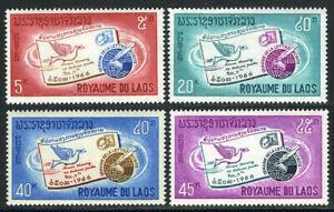 Laos 137-140, Mi 193-196, MNH Lettre Écriture Week. Carrier Pigeon, Globe, 1966