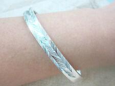 925 Sterling Silver 8mm Wide Diamond Cut Hinge Bangle LARGE size 60mm GIRL WOMEN