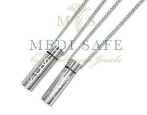 GENUINE MEDI SAFE SOS NECKLACE/PENDANT MEDICAL ALERT/ID/ALLERGY/TALISMAN SILVER