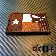 EMBROIDERED TEXAS FLAG PUNISHER MORALE PATCH VELCRO® FREE BLOOD TYPE MEDIC PATCH