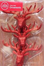 GLITTER DEER HEAD BUCK ANTLERS HANGING CHRISTMAS TREE ORNAMENT RED REINDEER