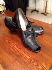 Fab 1930/40's Vtg.Shelby Black Punched/Serrated Peep Toe Pumps