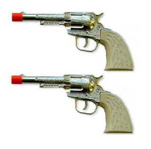 Wild West Set of 2 Die-Cast Metal Pistols Western Cowboy Toy CAP GUNS
