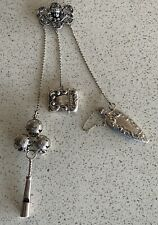 Antique Victorian Sterling Silver Chatelaine Perfume Childs Rattle & Match Safe