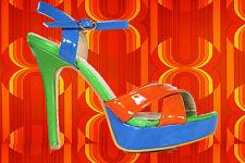 S14✪ 60er 70er Jahre Hippie Plateau Schuhe High Heels Riemchen blau orange Gr 38